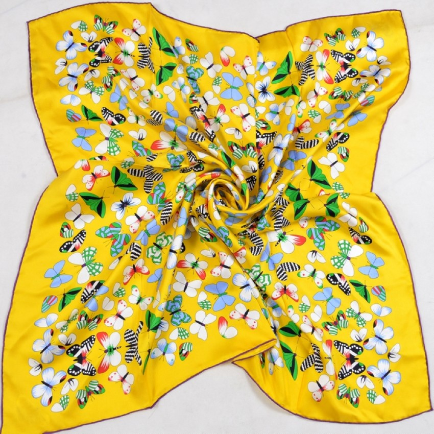 Butterfly Print Silk Scarf   Lightweight Scarves   Upto 60% Off Now