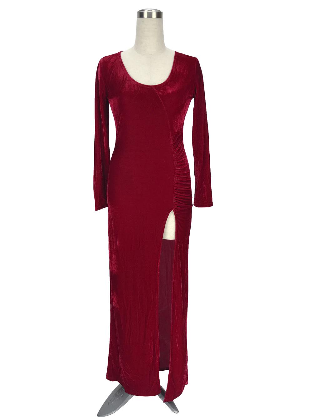 a7e654296a31 Vendita calda elegante reddito vestito di velluto blu split manica ...