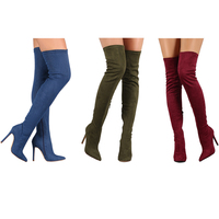 Suede Elastic Boots High Heel Thigh High Boots Women S Pointed Toe Zipper Sexy Over The