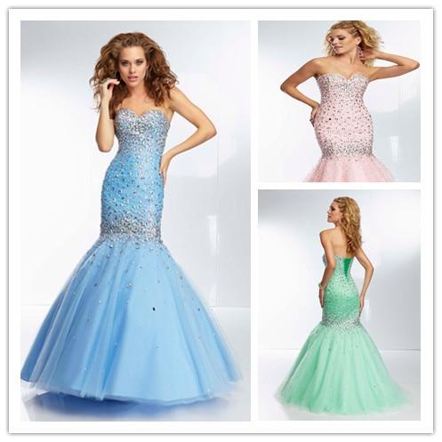 New Fashion Sweetheart Sequin Mermaid Prom Dresses Light Pink Mint ...