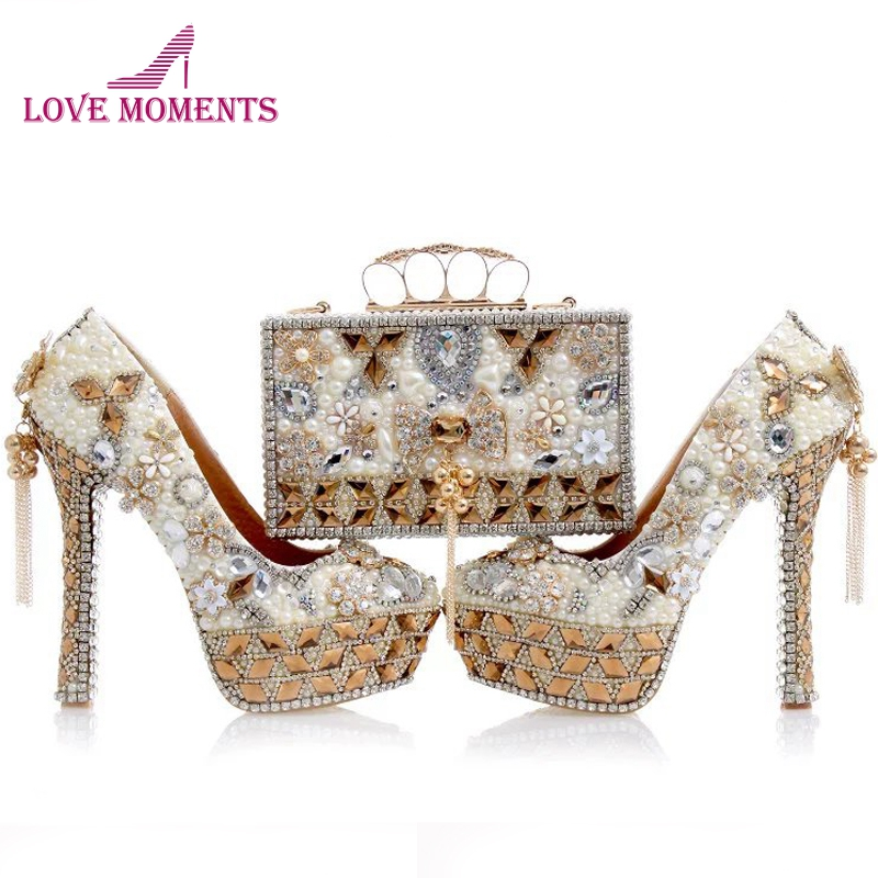 Newest Design White Pearl Wedding Shoes with Matching Bag Gorgeous Handmade High  Heels Women Crystal Bridal 45183dd16393