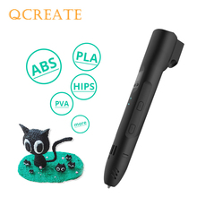 QCREATE QW01-012A 3D Pen LCD Screen Adjustable Heating Temperature 8-speed Setting Printing compatible PLA ABS Filament
