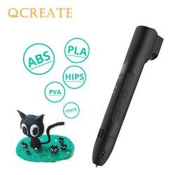 QCREATE QW01-012A 3D długopis ekranem LCD regulowany temperatura podgrzewania 8-ustawienie prędkości 3D pióro do dekorowania kompatybilny PLA włókno abs