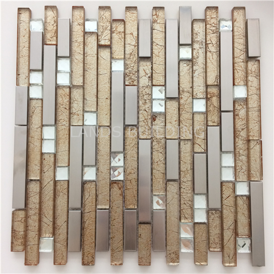 Stainless Steel mix Hand Painted Foil Crystal Glass Mosaic Tile for kitchen backsplash,bathroom wall tile DIY Sticker, SA047-33 rose gold stainless steel metal mosaic glass tile kitchen backsplash bathroom background decorative art mosaic wall tile sa073 9