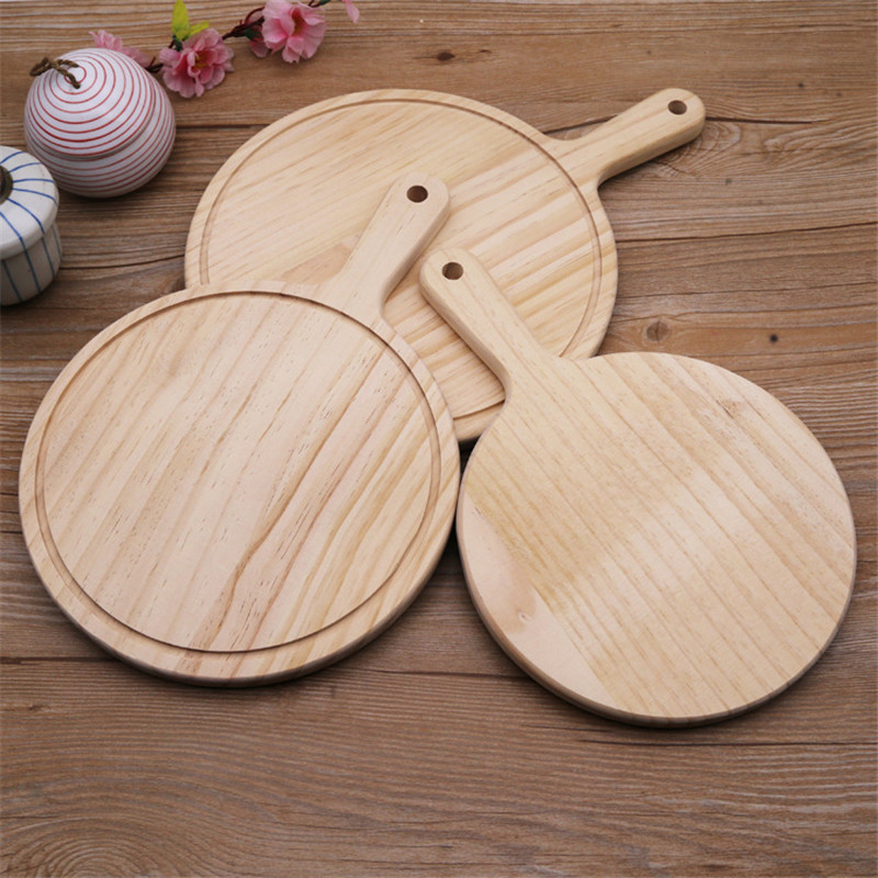 1pcs Pine Wood Round Pizza Bread Tray with Handle Dinner Serving Plate Board Dish Eco-friendly Kitchen Tableware ...