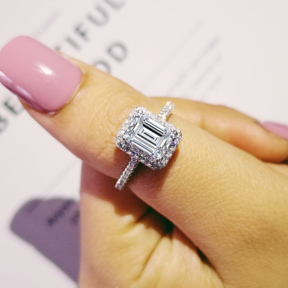 Fashion 925 sterling Silver Engagement wedding Rings for Women ring set band fin