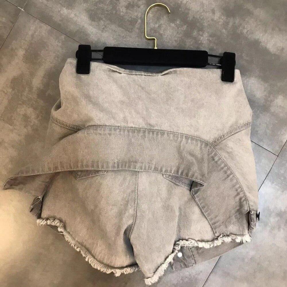 Luoanyfash шорты на шнуровке с высокой талией джинсовые шорты для женщин высокая уличная летняя Дизайнерская одежда 2019 Новый модный стиль - 3