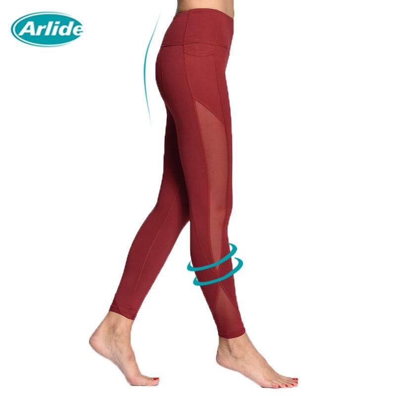 Arlide Women Yoga Compression Pants Mesh Leggings Pants Elastic Tights Sexy Yoga Capri with Pocket for Workout Gym Jogging NE-09