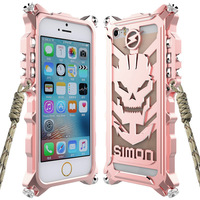 Zimon For iPhone SE Tough Armor Skull Metal Aluminum Phone Case For iPhone 5s 5 4.0 Shockproof Bumper Back Cover Casing