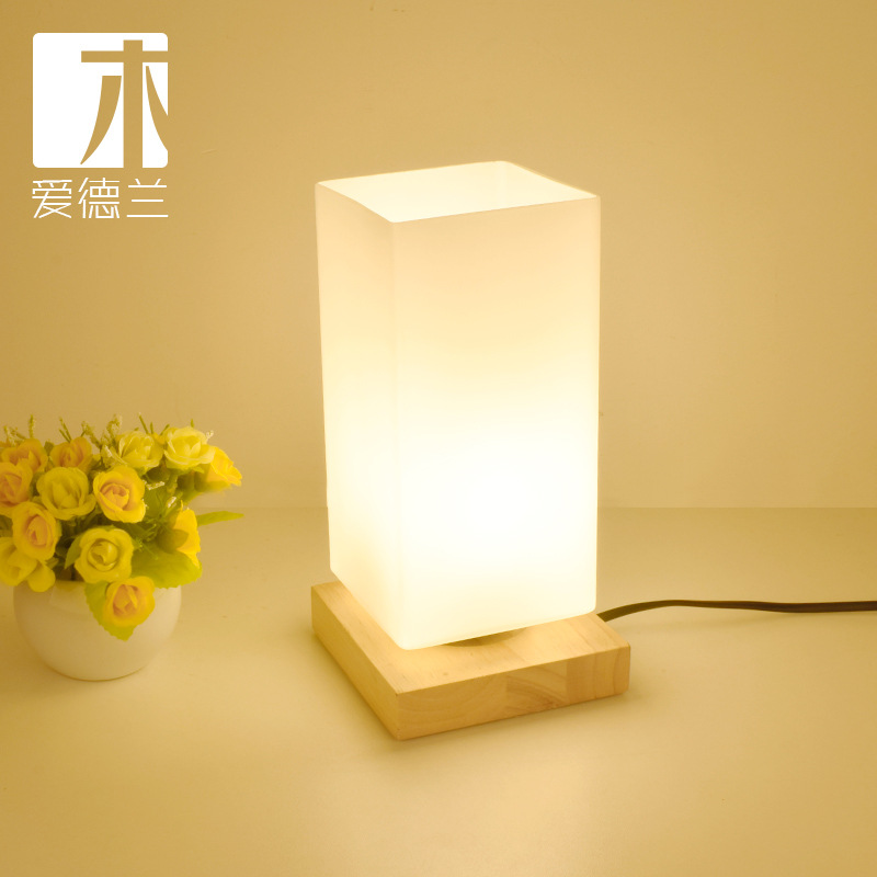 YOOK Japanese Style Simple Rectangular Wood Table Lamps