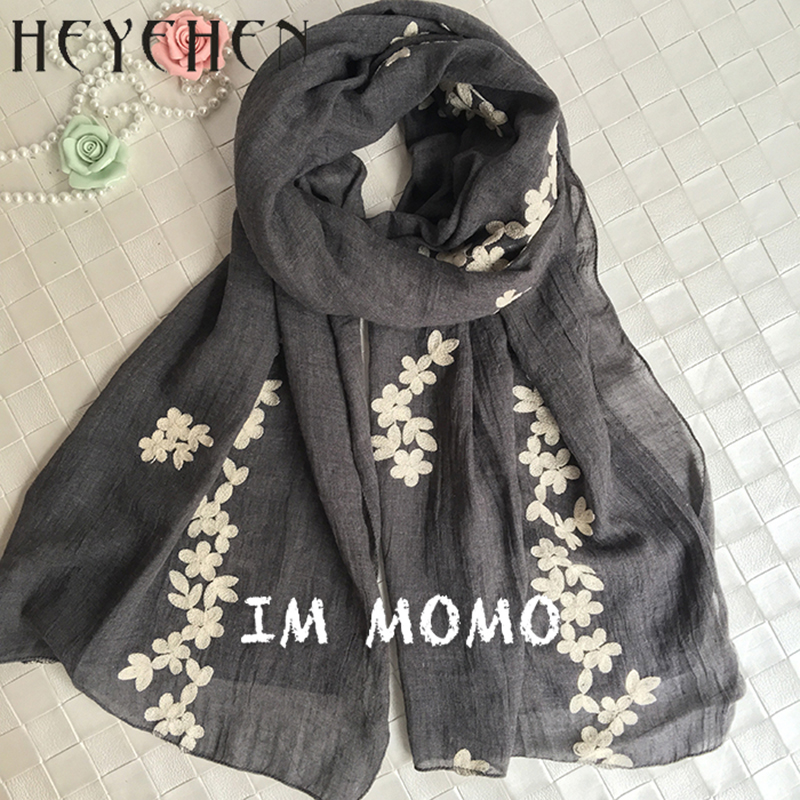 2017 New Design Cotton Polyester Embroidered Muslim Women Hijab Long Bandana Floral Scarf Winter Autumn Shawl HY10