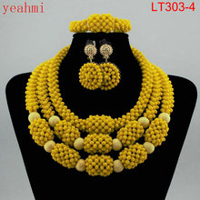 Amazing Orange African Beads Jewelry Set Nigerian Beads Necklace Dubai Jewelry Sets 2018 New Free Shipping LT303-2