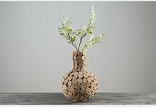 купить Home Decor vase wooden Vases for Flower gifts pastoral Style Wedding gift tabletop vase wood flower pot hand made nature Unique дешево
