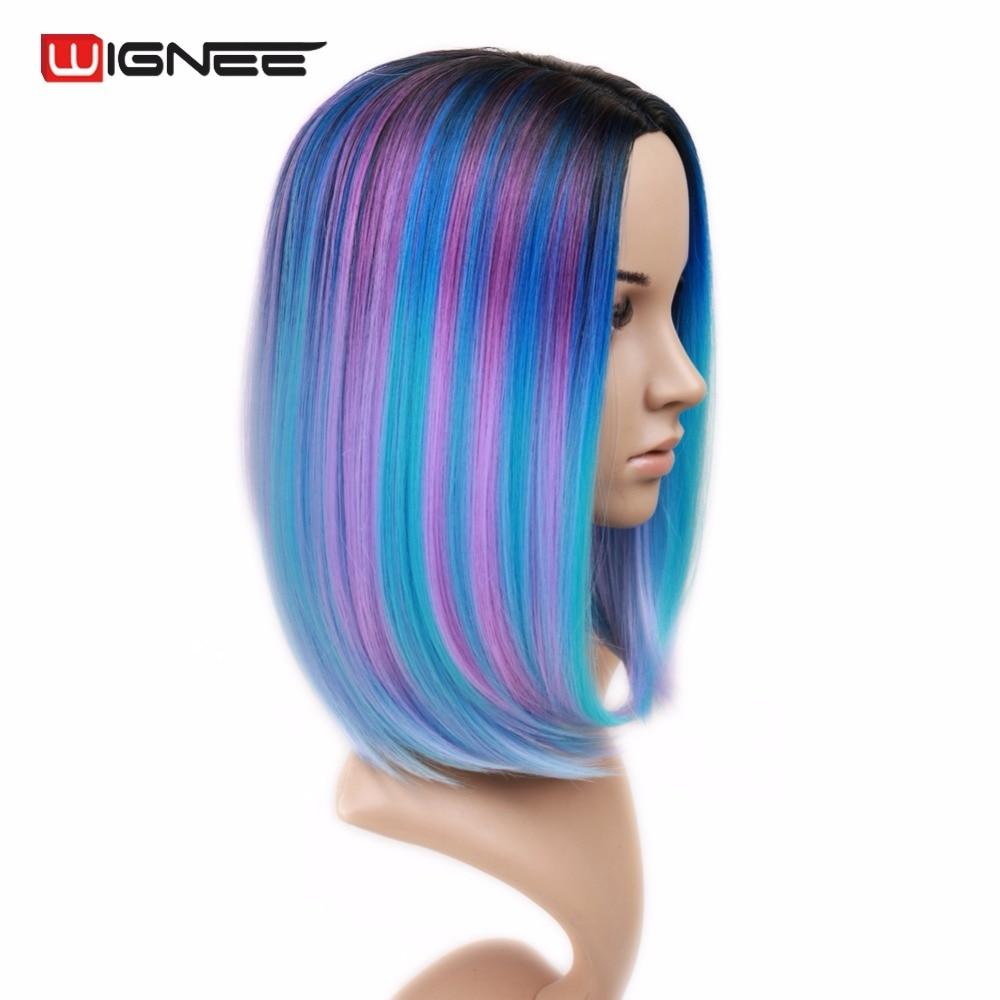 Wignee, parte media, pelo corto y recto, pelucas sintéticas de Bob, mezcla de púrpura / rosa / azul / negro, arco iris, sin cola, cosplay, peluca de pelo para mujer