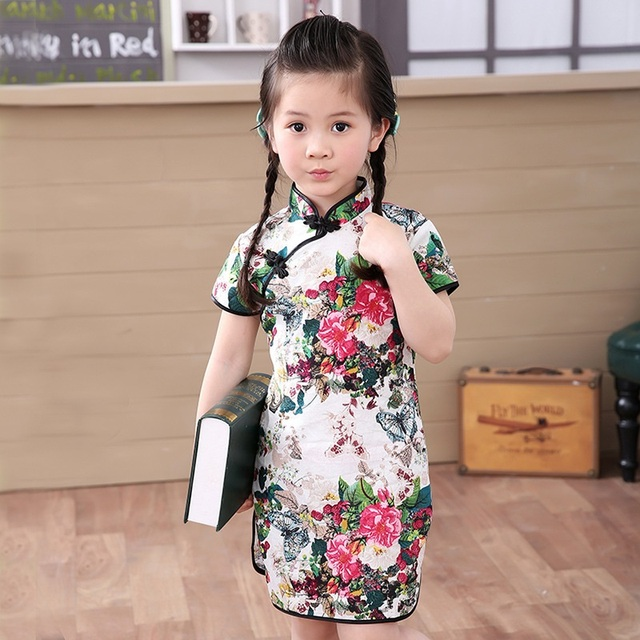 cf50a3541bfb4 Floral Baby Qipao Girl Dress Chi-Pao Cheongsam New Year Gift Children  Clothes Kids Dresses Girls clothing Wedding Princess Dress