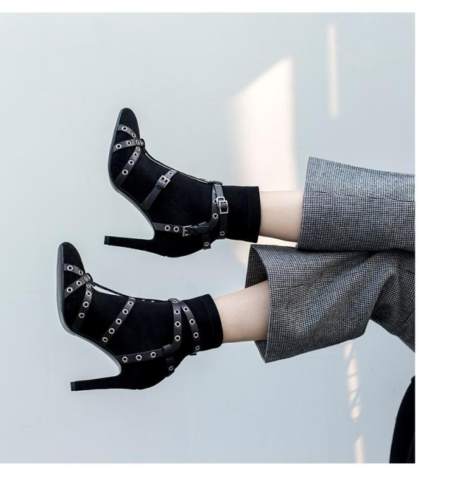 2018 European and American new style autumn winter pointed toe thin heel ankle boots rivet buckle genuine leather women's boots