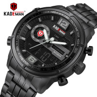 KADEMAN Casual Business Mens Watch TOP Brand Sport Military Digital LED Watch Full Steel Waterproof Wristwatch Relogio Masculino