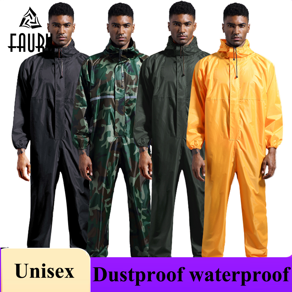 Men Women Fashion Dustproof Waterproof Hooded Painting Overalls Reflective Protective Worker Uniforms Clean Jumpsuit Lab Coats