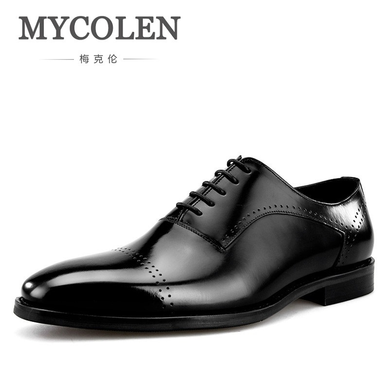 MYCOLEN Hot Sale Men Shoes Leather Genuine Italian Designer Pointed Toe Dress Shoes Classic Formal Oxford Shoes Soulier Homme hot sale italian style men s flats shoes luxury brand business dress crocodile embossed genuine leather wedding oxford shoes