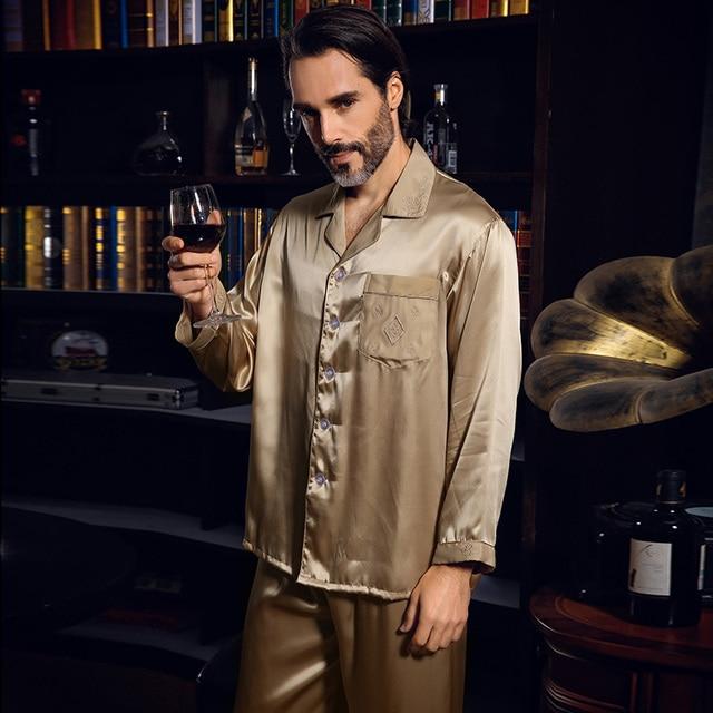 YIER Brand Men's 100% Silk Pajama Long-Sleeve Men Pyjamas Men Sleepwear Sets Pants Silk Pajamas Set Loungewear Clothes