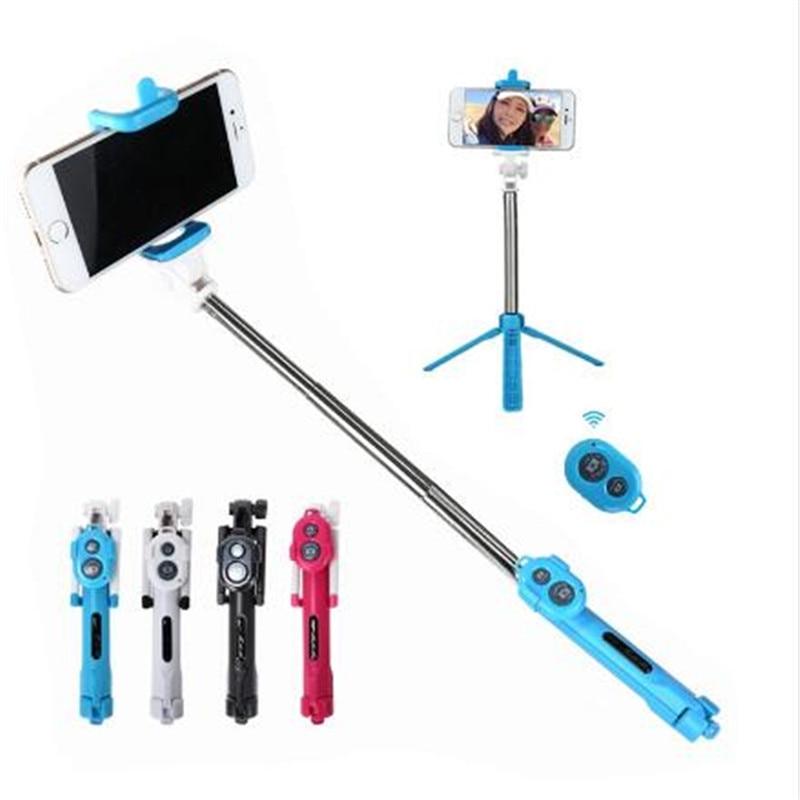 Foldable Bluetooth Shutter Selfie Stick + Tripod Monopod Sticks Remote Control Stand Holder bluetooth button For iPhone Xiaomi