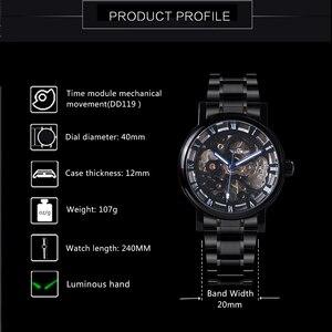 Image 2 - GEWINNER Offizielle Casual Uhren Männer Skeleton Mechanische Uhr Stahl Bügel Römischen Anzahl Business Top Marke Luxus Männer der Armbanduhr