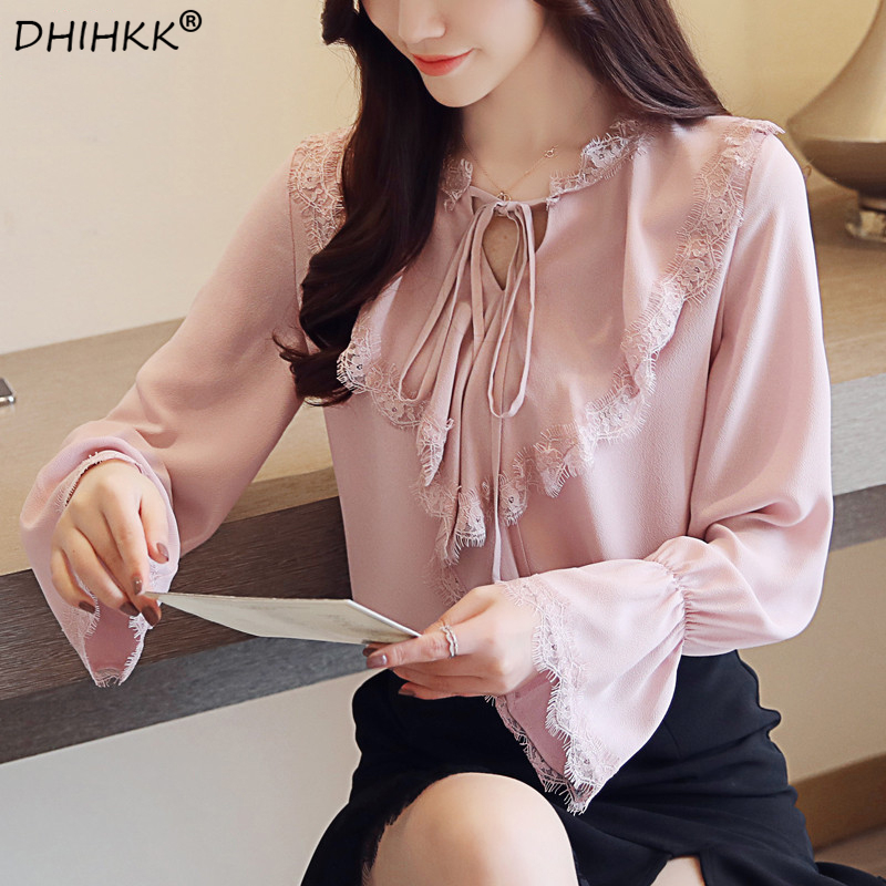 DHIHKK 2018 New Women Shirts Nylon Lace Blouse Shirt Bow Long Sleeve Womens Bluse V-Neck Chiffon Tops