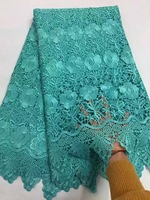 African Guipure Lace 2016 Green Blue Flower Beautiful High Quality Polyester African Lace Fabric Cord Lace Fabric For Wedding