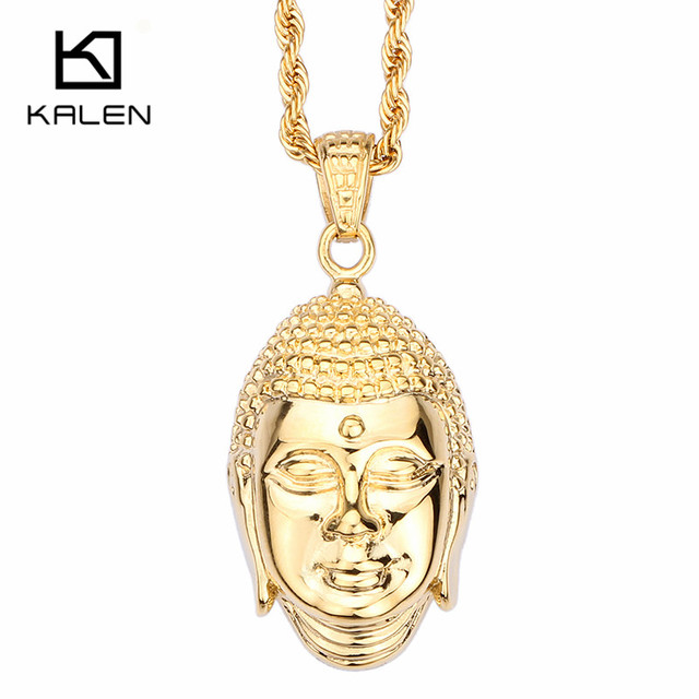 Kalen New Stainless Steel  Gold Plated Buddha Pendant Necklace China Lucky Buddha Twisted Long Chain Necklace For Men Gifts