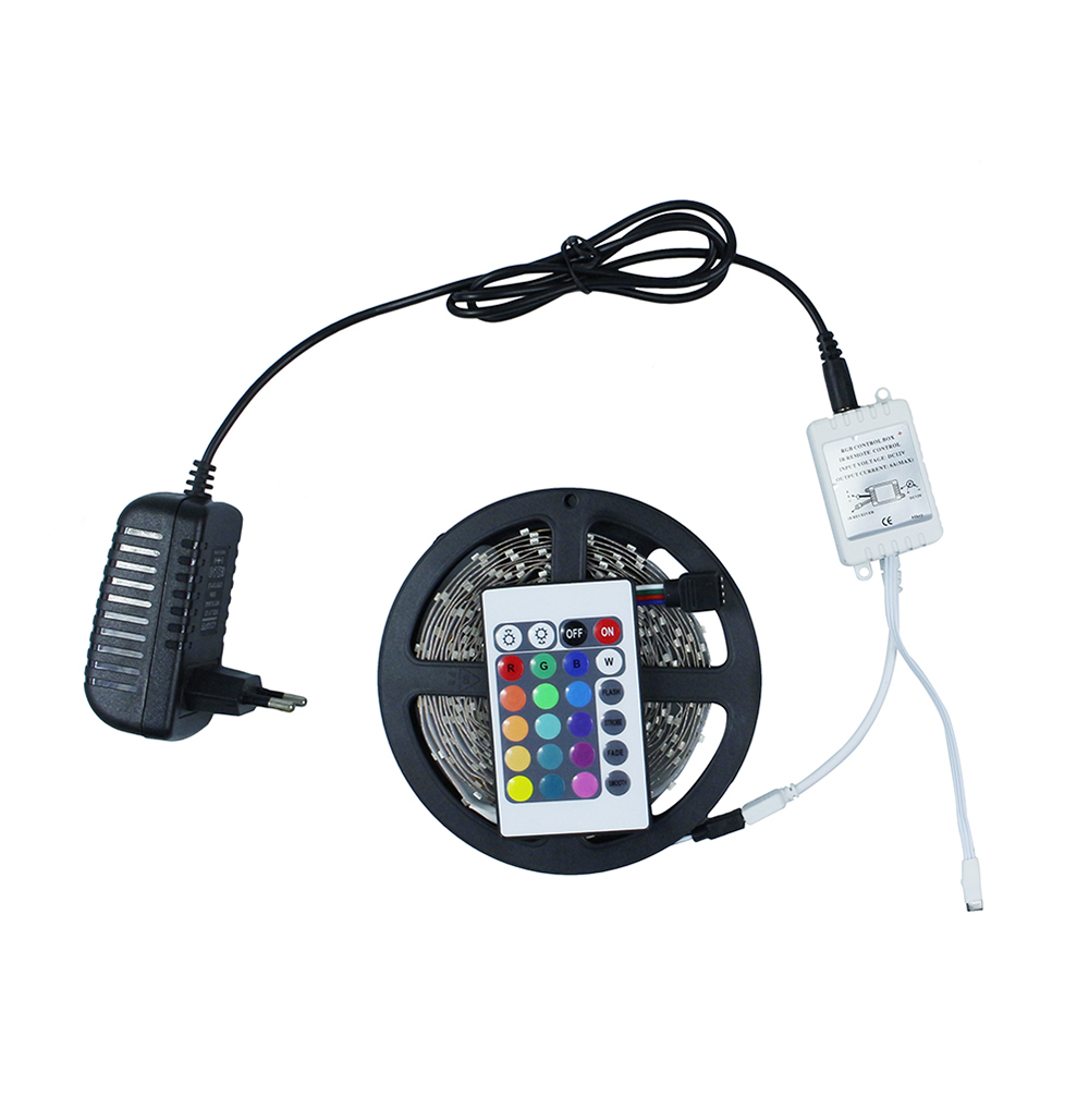 3528/2835 RGB LED Strip Flexible Light Lamp Non-Waterproof 5M 300 Led SMD IR Remote Controller DC12V 2A Power Adapter
