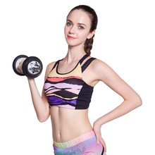 417c6686ea0a4 2018 Sexy Colorful Printed Sport Bra Women Cross Straps Push Up Fitness Wire  Free Quick Dry Breathable Yoga Running Gym Tank Top