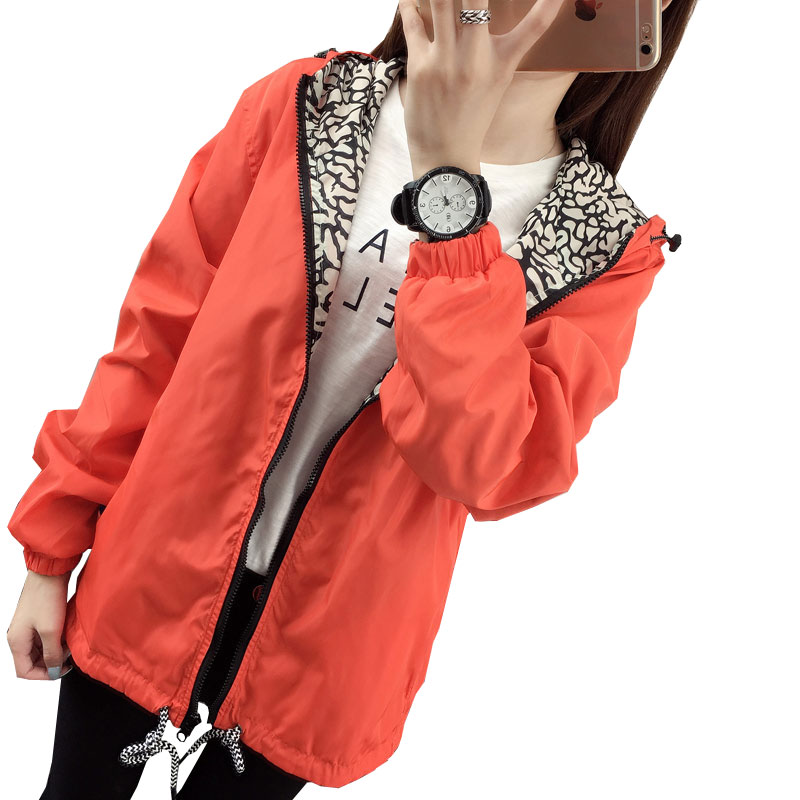 The new Korean Fan big yards Ms. Spring and Autumn windbreaker assault wild hooded jacket blouses