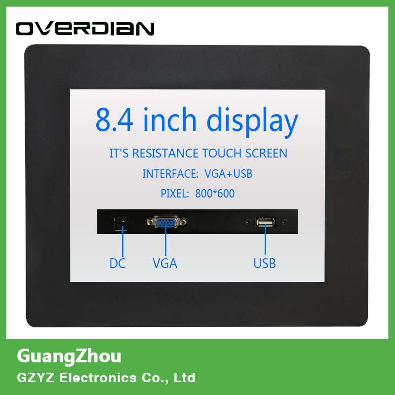 8/8.4 VGA/USB Interface Resistive Touch Industrial Control LCD Monitor/Display Metal Shell Buckle Card Installation 4:3 11 6 inch metal shell lcd monitor open frame industrial monitor 1366 768 lcd monitor mount with av bnc vga hdmi usb interface