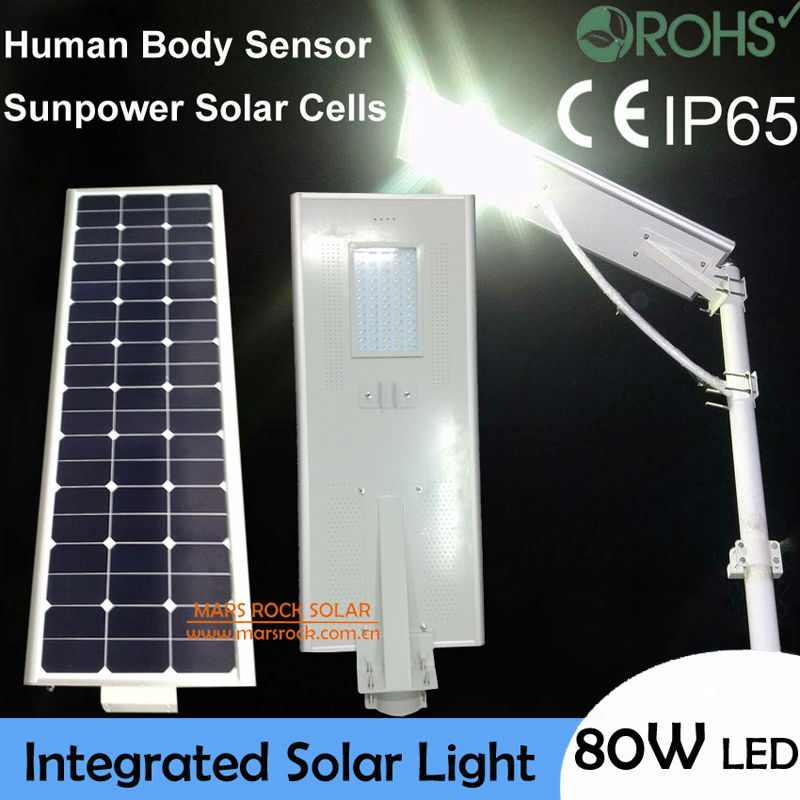 80W Bright LED Solar Light, Solar Motion Sensor Light, 100W Solar Panel with 42Ah Battery All In One, Integrated Solar Road Lamp 40w led solar street light solar sensor light 60w solar panel 27ah battery all in one integrated outdoor solar light waterproof