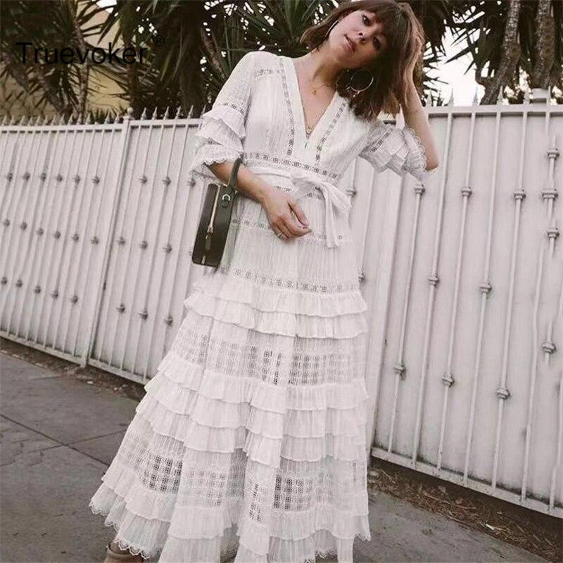 Truevoker Designer Mid Calf Dress Women's High End Short Sleeve Sexy V neck Embroidery Hollow Out Cotton Dress