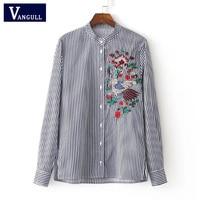 Woman Striped Blouse Cotton Bird Embroidery Shirt 2017 Stand Collar Long Sleeve Femininas Bordado Floral Camisa