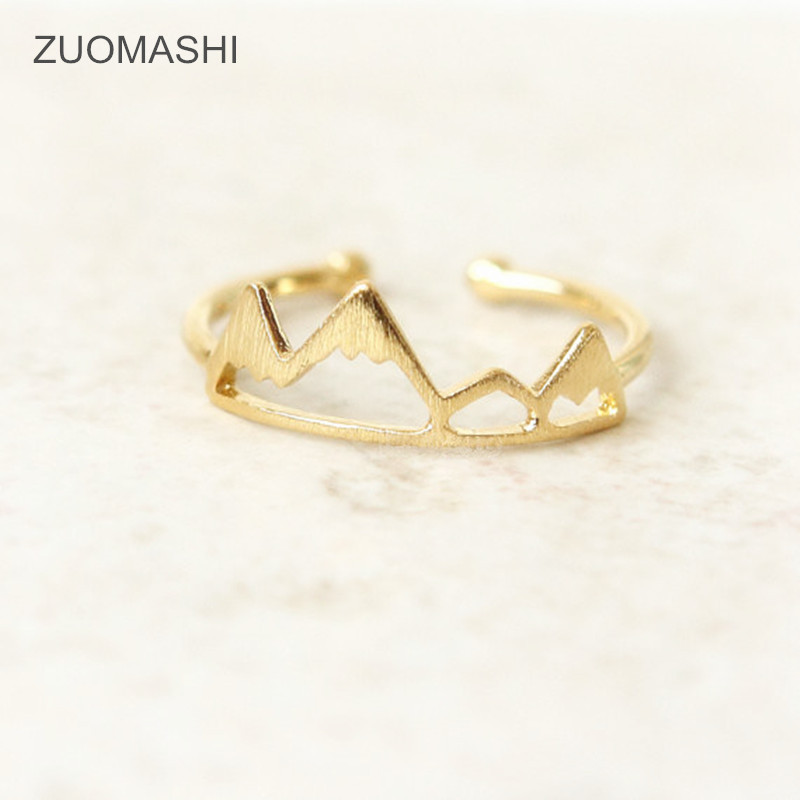 2016 Hot Selling Mountain Ring Fashion Adjustable Gold Ring For Women Wholesale Cute Mountains Ring, Snow Mountain Ring