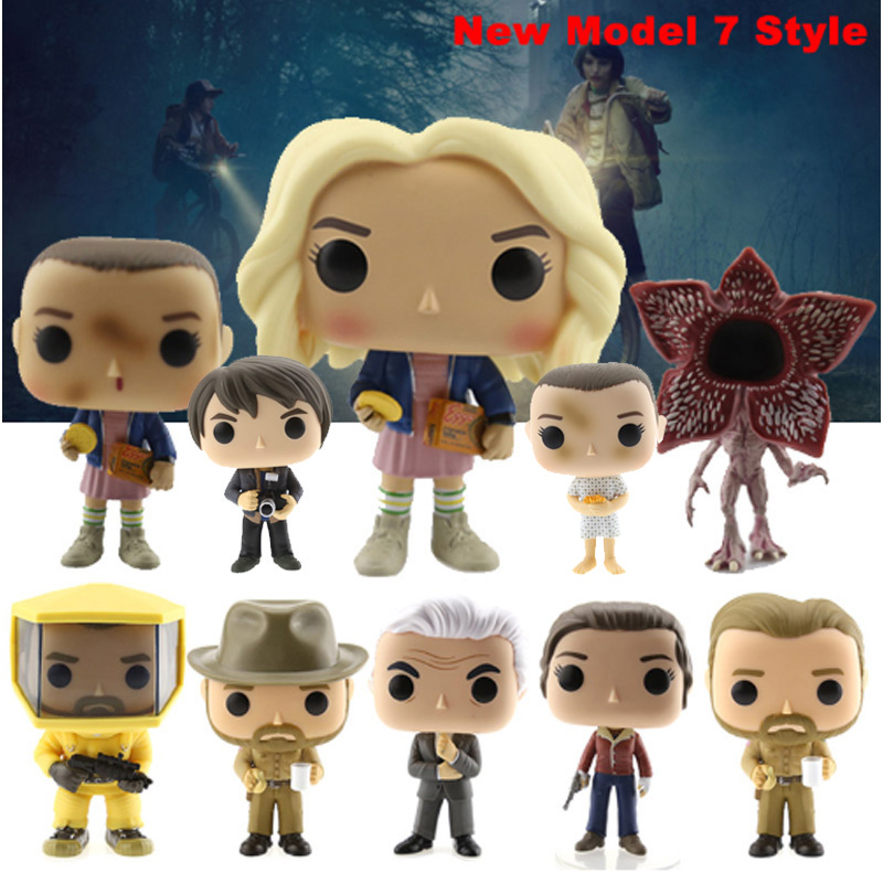 New Style 11 Stranger Things About 10cm ELEVEN WITH EGGOS Hand DEMOGORGON Action Figure Bobble Head Q Edition For Car Decoration new 10cm naruto shippuden sasuke kurama action figure bobble head q edition new box for car decoration