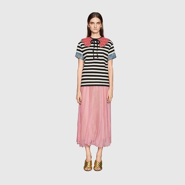 Vintage Luxury Sequins Nech Black T Shirt Women 2019 Summer Short Sleeve Striped Casual T Shirt Female Harajuku Tops Clothing