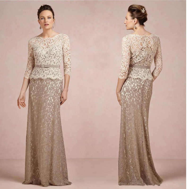 Brown And Champagne Long Sleeve Lace Mother of the Bride Dresses 2016  Mermaid Mom Godmother Groom fa775021f847