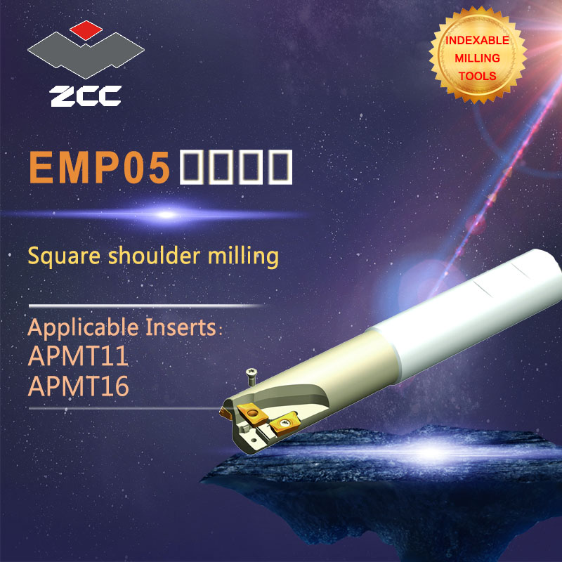ZCC.CT Square shoulder milling cutters EMP05 high performance CNC lathe tools indexable milling tools high quality square shoulder milling tools holder for cnc lathe machining center cutter with high precision pe01 11a27 080 08