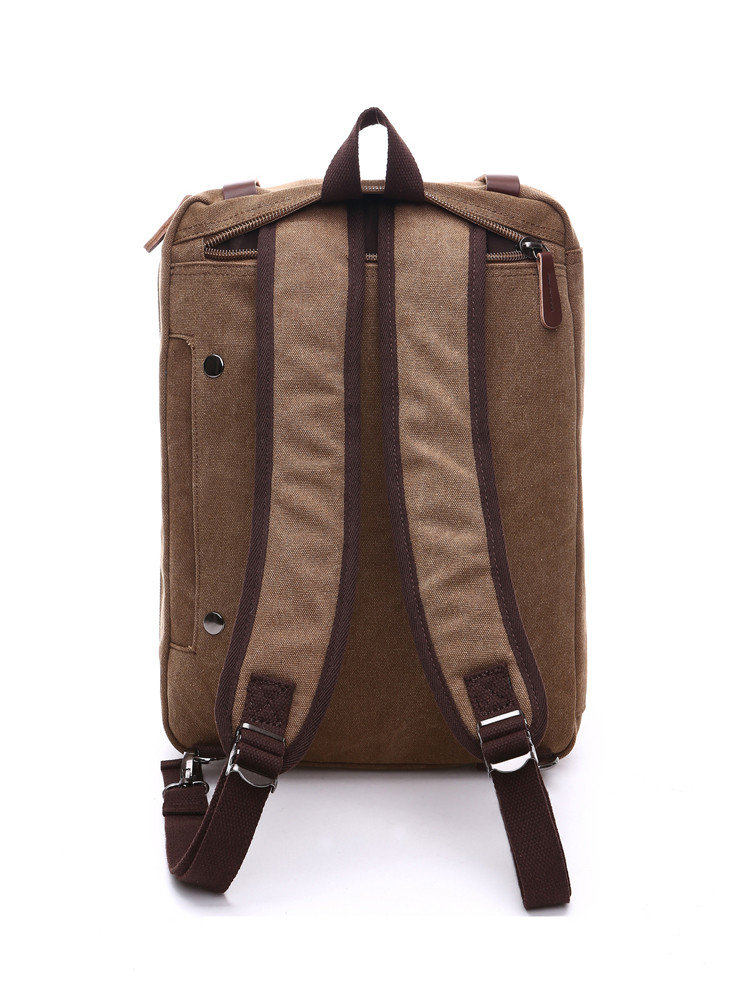 the backside of a backpack brown that can be used as a laptop bag