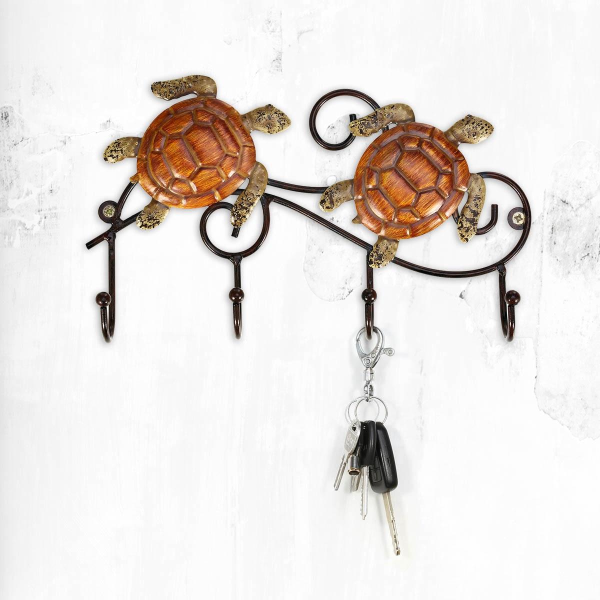 Tooarts Wall Mounted Iron Wall Hanger Vintage Design Turtle Shape Hooks with 4 Hooks Coats Keys