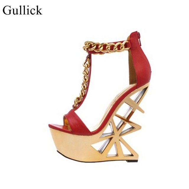 Newest Style Women Solid Color Metal Chain Decoration Strange Heel Platform Sandals Summer Fashion Back Zipper Open Toe Shoes все цены