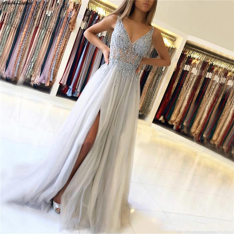 Argent brillant 2019 robes de bal v-cou paillettes perlées voir à travers les filles sans manches robes de soirée avec fente latérale Gala