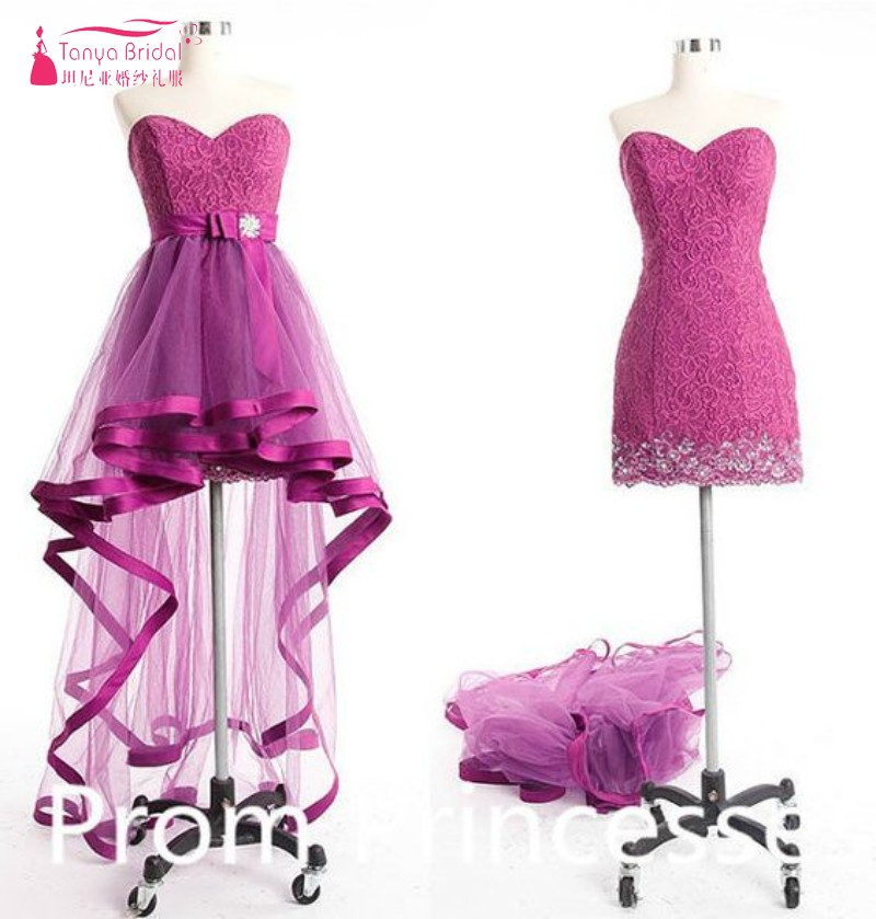 Hot Pink Fuchsia Sexy Prom Dress with Removeable Train Lace Cheap ...