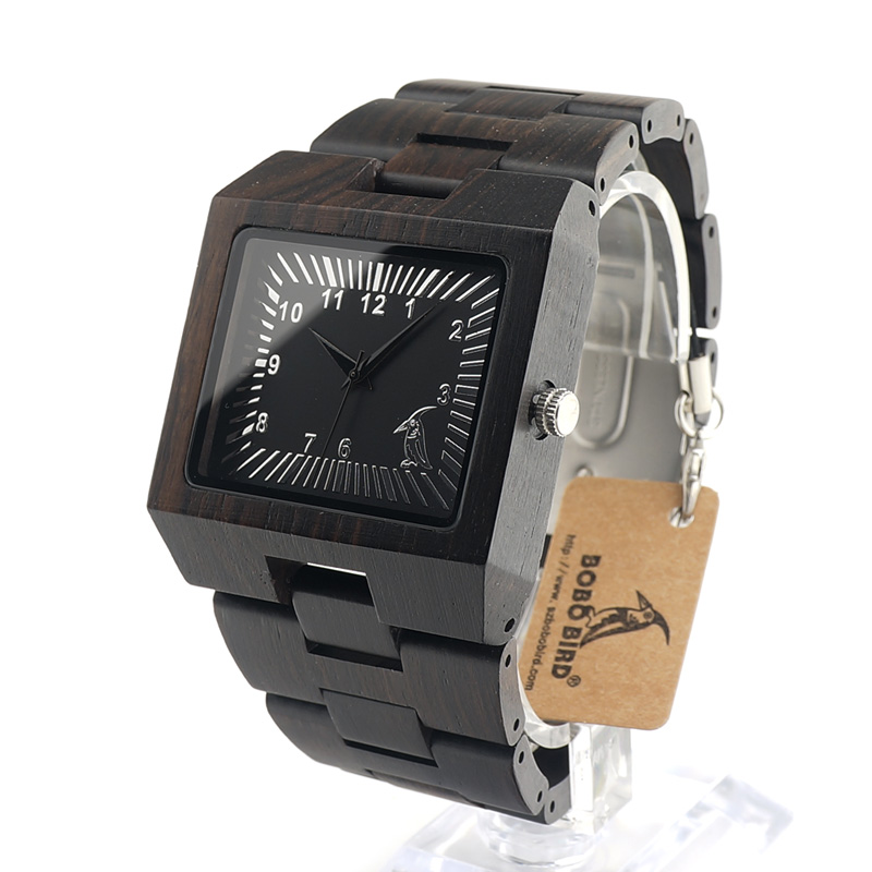 BOBO BIRD L23 Ebony font b Wooden b font Rectangle Quartz Wrist font b Watch b