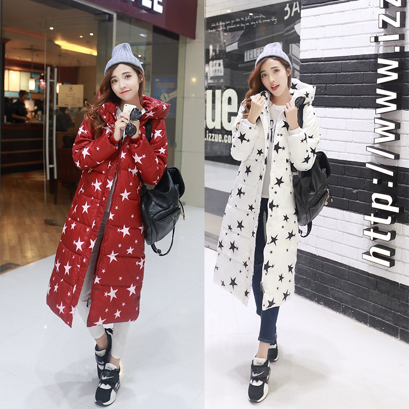 Plus Size Winter X-Long Coat Women 2015 New Women Hooded Print Down Parkas Fashion Ladies Slim Long Wadded Jacket Overcoat H5506 2015 new hot winter warm cold woman down jacket coat parkas outerwear luxury hooded splice long plus size 2xxl hit color slim