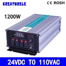 P1200-241 1200 w onde sinusoïdale pure onduleur 24vdc à 110vac hors réseau convertisseur de tension, onduleur solaire