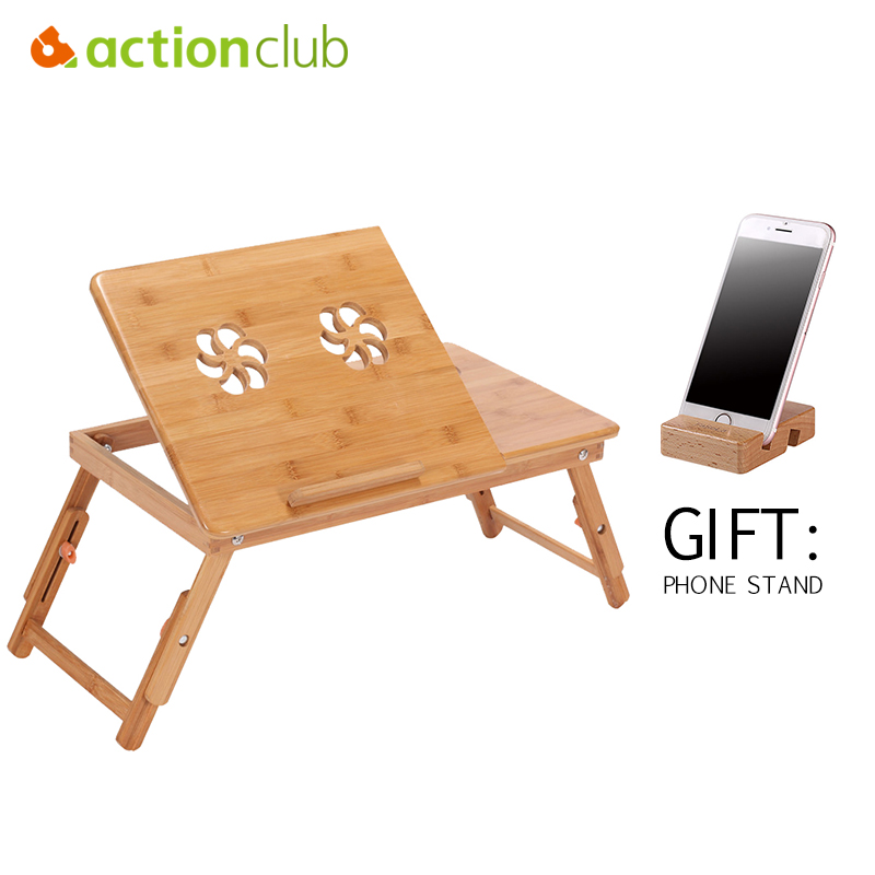 Actionclub Bamboo Laptop Table With Fan Portable Folding Laptop Stand Desk Bed Table For Computer Notebook Free Phone Stand Gift